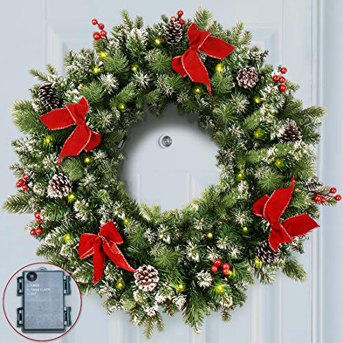 ANOTHERME Pre-lit 24 Inch Christmas Wreath 50 ClearLED Lights, with Timer, Pine Cones, Red Berries, Red Bows, Door Wreath with Snow Flocked