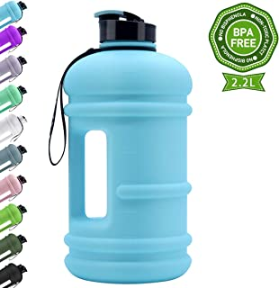 TOOFEEL Dishwasher Safe 2.2L Big Reusable Sports Water Bottle 75oz Half Gallon Water Jug with Portable Handle Container Large Capacity Canteen BPA Free Leak-Proof for Gym Fitness Athletic
