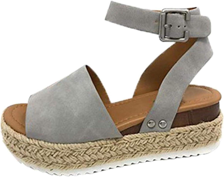 Ruddyin High Heels Summer Casual Women's Rubber Sole Studded Wedge Buckle Ankle Strap Open Toe Sandals