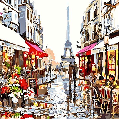 bellissimo paesaggio dipinto su tela 40,6/x 50,8/cm Paris Street Komking DIY oil painting Paint by Numbers Kits per adulti per principianti