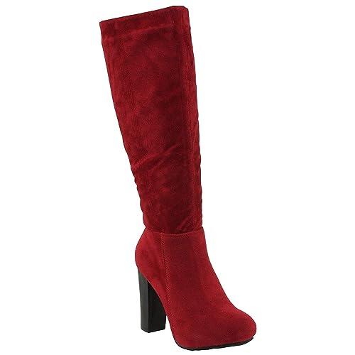 f98abf43d Refresh Women's Ringo-03 Knee High Side Zipper Closure Chunky High Heel  Dress Boots