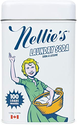 Nellie's Laundry Soda, 3.3 lbs, 100 Loads- Non-Toxic, Vegan, Leaping Bunny Certified