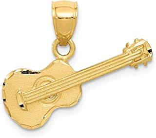 14k Yellow Gold Acoustic Guitar Pendant Charm Necklace Man Musical Instrument Fine Jewelry Gift For Dad Mens For Him