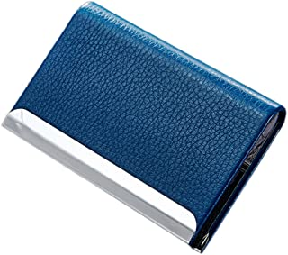 Litchi Pattern PU Leather Alloy Small Business Card Holder Case ID Card/Credit Card Holder Pouch Metal Gift Card Holder Box, Holds Up To 25 ID Card, Magnetic Bifold Close (Blue)