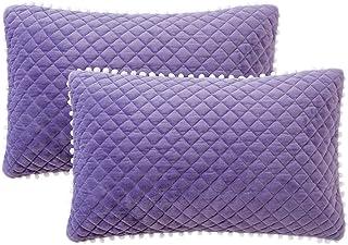 LIFEREVO 2 Pack Diamond Quilted Crystal Velvet Mink Pillowcases Pompoms Fringe Zipper..