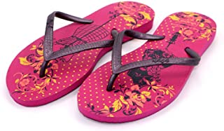 Dupe Rose Pink Printed Flip Flop Thong Design Slipper for Women