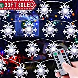 33 ft 80 LEDs Snowflake String Lights Battery Operated Waterproof Outdoor Indoor Fairy Lights for Holiday Party Decor Patio Garden Bedroom with Remote Control Timer 8 Flash Mode LED Snowflake Lights