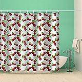 Axcomy Duschvorhänge Duschvorhang Kirsche-120X180cm-Wasserdicht Bad Vorhang Waschbar Bad Vorhang Polyester Stoff , Mit Haken 12 Haken