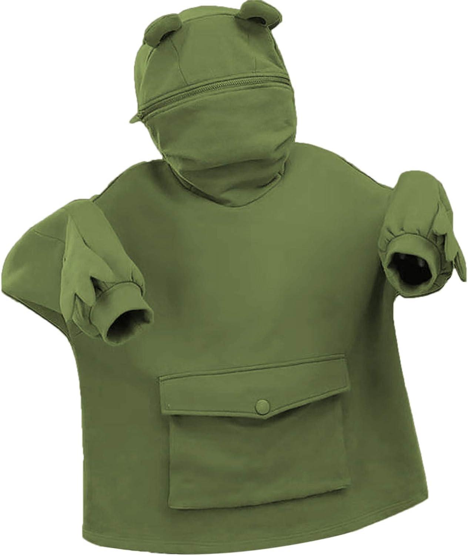 Mimacoo Frog Hoodies for Teen Girls Zipper Mouth Hooded Sweatshirts Long Sleeve Pocket Shirts Kawaii Cosplay Tunic