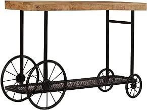 vidaXL Solid Mango Wood Console Table Bottom Shelf Entryway Hallway Side Table Living Room Organiser Decorative Wheel Home...