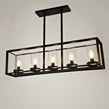 ZYLE-Chandelier American-Style Retro Chandelier E27 Industrial Loft 5 Bulbs Iron Ceiling Pendant Light for Hallway Stairs Living Room