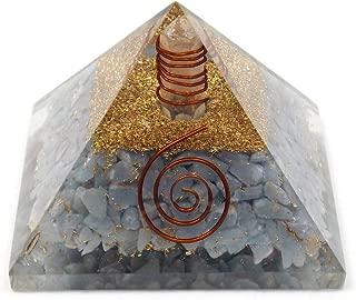 Angelite orgone pyramid crystal healing reiki orgonite EMF protection energy purifier generator chakra balancing tool