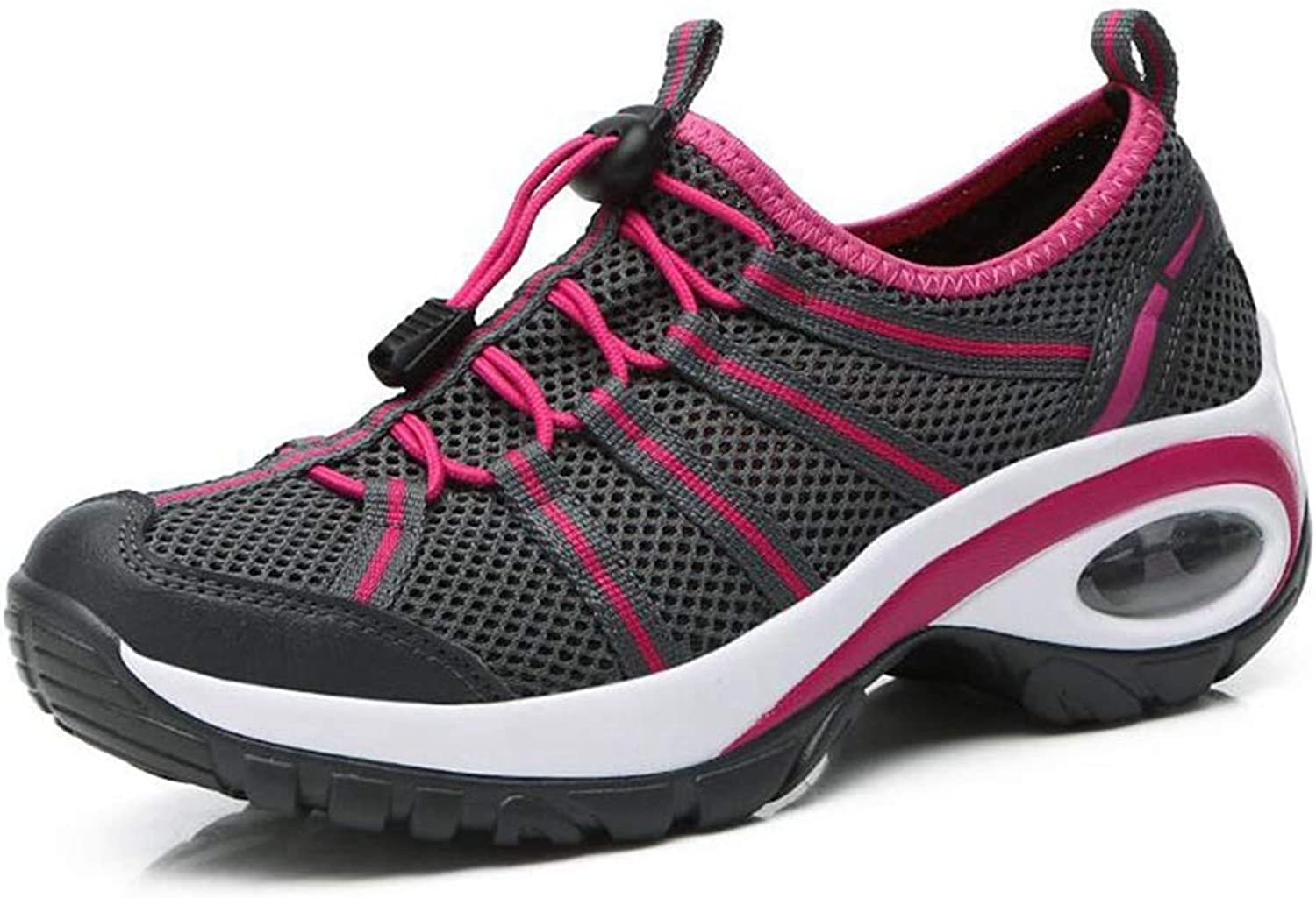 Womens Wedge Sneakers Casual Comfortable Air Cushion Ultra Lightweight Mesh Breathable Lace Up Athletic shoes