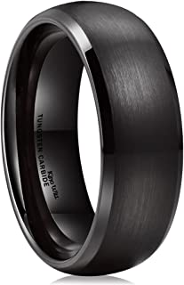 TYRE Black Domed Tungsten Ring 8mm Brushed Matte Finished Wedding Band Size 7-14