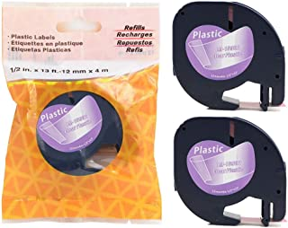 2/Pack LM Tapes - Premium Black on Clear Polyester Compatible Tape for LetraTag Printers, Replaces Dymo 16952 Letra TAG