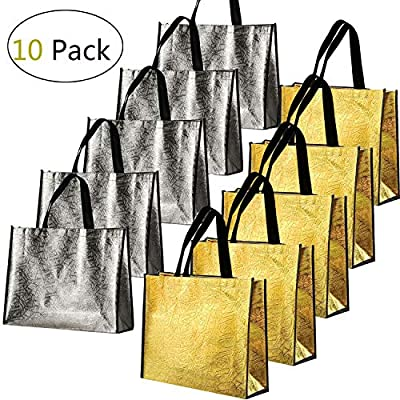 PSALMS 10 Pcs Christmas Glossy Reusable Grocery Bag,Gift Bag,Tote Bag, Non-woven Stylish Present Bag, Shopping Bag, Promotional Bag, for Party, Event, Wedding, Birthday (Gold, Silver)