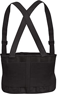 Cordova Safety Products Adjustable Back Support Belt with Attached Suspenders, Large, Black