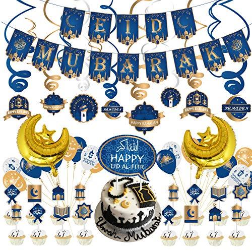 PADELO 58 Pcs Eid Mubarak Decoration Set, Ramadan Party Decorations Supplies, Eid Mubarak Photo Booth Props Kit Foil Banner Latex Balloon for Muslim Eid Party
