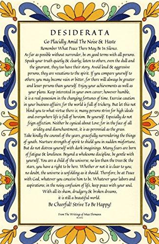 Desiderata Poema de Max Ehrmann 11x 17, diseño rústico