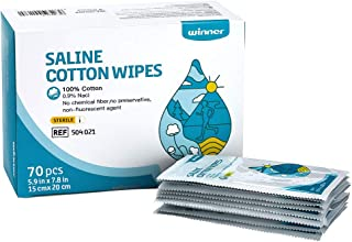 """Unscented Baby Saline Wet Wipe, 100% Cotton, Individual Foil Package, Sterilize, Multi-Purpose for Baby's Sensitive Eyes and Face, 70 Count, Large Size 5.9"""" x 7.9"""""""