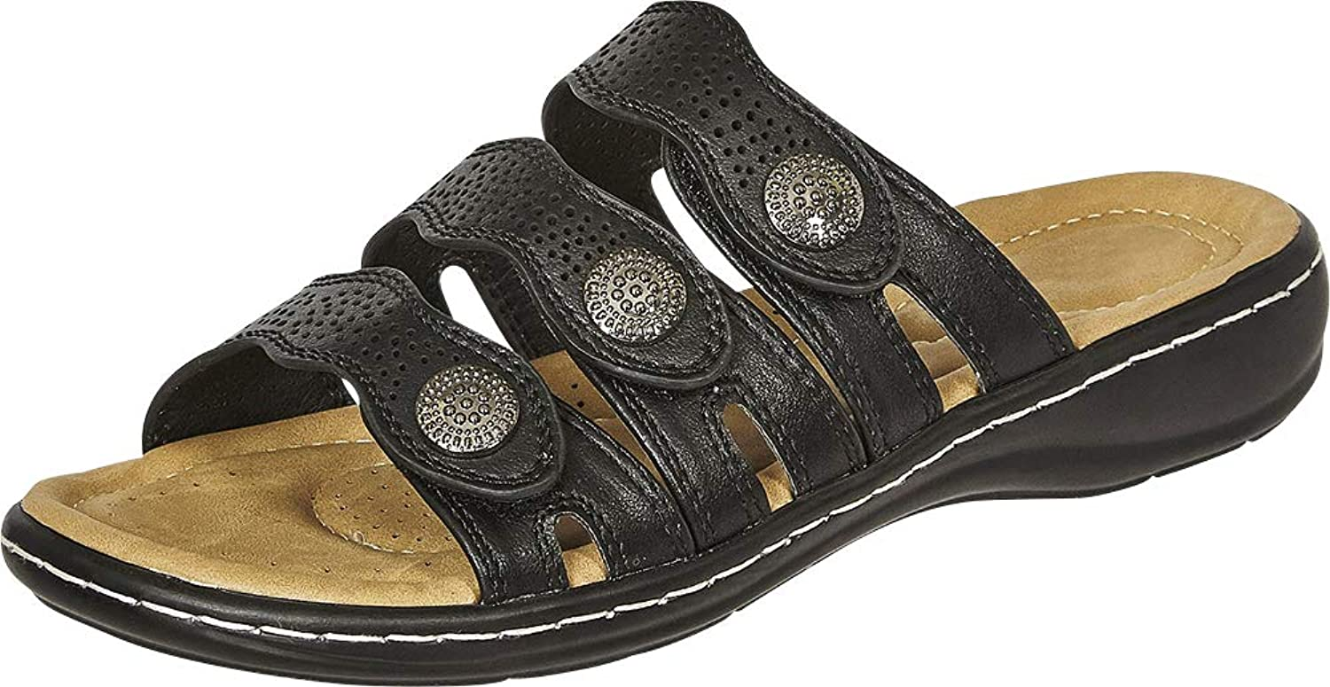 Cambridge Select Woherrar Open Toe Three - Strap Low Low Low Wedge Comfort Slide Sandal  välkommen att köpa
