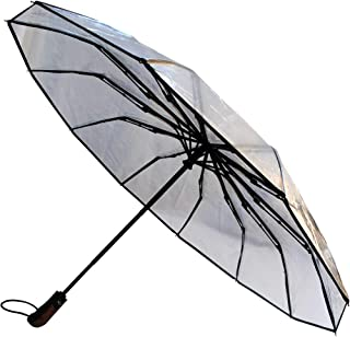 COLLAR AND CUFFS LONDON - Rare 12 Rib Compact Umbrella, 4 Extra Ribs For Strength - 50mph Strong Reinforced Windproof Frame with Fiberglass - Small Folding Auto Open & Close Clear Transparent Wedding