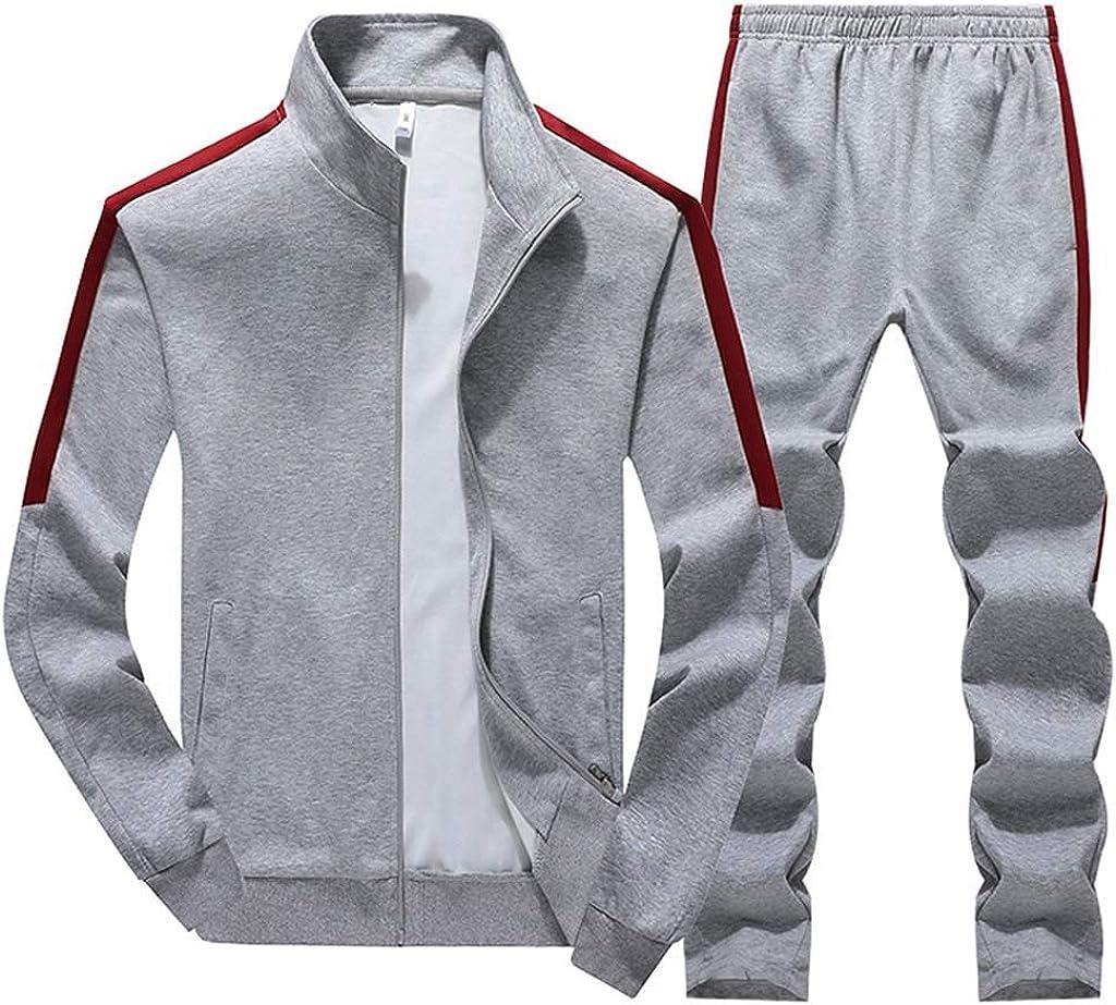 Men 2pc Outfit Casual Slim Fit Sweatshirt Tracksuit Sport Patchwork Sets