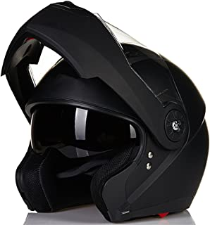 ILM 8 Colors Motorcycle Modular Flip up Dual Visor Helmet DOT (L, Matte Black)