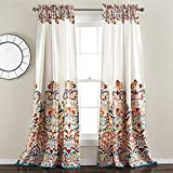 Lush Decor Clara Curtains Paisley Damask Print Bohemian Style Room Darkening Window Panel Set for Living, Dining, Bedroom (Pair), 84' x 52', Turquiose & Tangerine