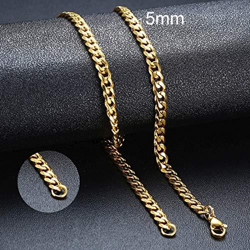 YAMAO Hombre Collar,Collares Simples de Cadena de eslabones cubanos de Acero Inoxidable de 3-11 mm para Hombres, joyería Masculina, Regalos Negros de Oro sólido