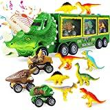 Dinosaur Toy Truck for Kids 3-7 with Flashing Lights, Music and Roaring Sound, 10 in 1 Dinosaur Toys for Boys and Girls, 3 Pull Back Dinosaur Cars, 6 Dinosaur Toys and 1 Dinosaur Carrier Truck