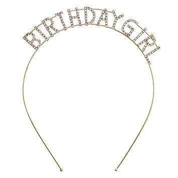 AM/_ Metal Rhinestone Inlaid Headband Birthday Girl Hair Hoop Party Crown Decor N