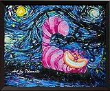 Uhomate A009 Alice im Wunderland Grinsekatze Alice Wunderland Vincent Van Gogh Sternennacht Poster Home Canvas Art Baby Geschenk Kinderzimmer Decor Wohnzimmer Wand Decor 18X24 inch