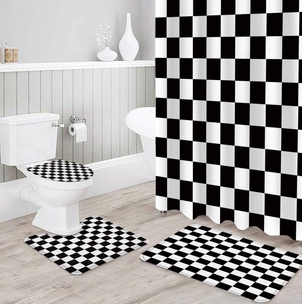 FAMILYDECOR 4 PCS Shower Curtain 5 ☆ popular Toilet Rug with Sets Non-Slip 2021 new