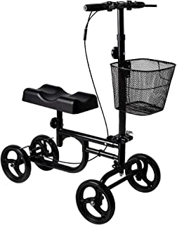 Give Me Knee Scooter Steerable Knee Walker Deluxe Crutch Alternative Dual Braking System in Black