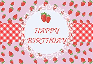 Baocicco 7x5ft Strawberry Happy Birthday Backdrop Photography Background Pink Red Strawberry Stripes Grids Lace Little Princess Girls Little Lady Birthday Theme Party Photo Studio Video Props