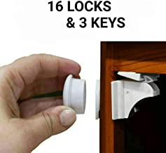 Child Safety Magnetic Cabinet Locks - Eco-Baby 16 Pack Children Proof Cabinet &Drawers Latches - Adhesive Cupboard Magnet Locks No Drilling