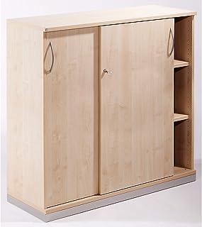 THEA Armoire à portes coulissantes - 2 tablettes, 3 hauteurs de classeurs - façon érable - armoire armoire de bureau armoi...