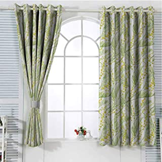Garden Art Living Room Curtains 2 Panel Sets Watercolor Mimosa Pattern Wild Spring Flowers Brush Strokes Effect Home Decor Blackout Curtains W107 x L84 Inch Apple Green and Yellow