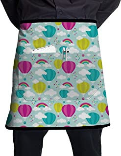 Mimosakula Hot Air Balloon and Rainbows Half Home Kitchen Apron Teachers,Waitress,Waiter Or Server,Apron Pockets,Black Half Apron,Kitchen Cooking,Crafts,and Restaurants See All Waist Black(21x18in)
