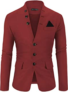 WEEN CHARM Mens Casual Slim Fit Standing Collar Blazer 3 Button Suit Sport Jackets
