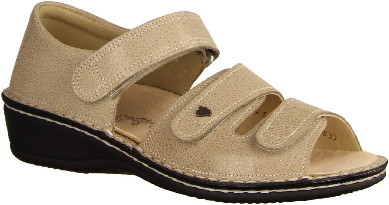 Finn Comfort Usedom Ecru (Beige) - Sandale mit Loser Einlage - Damenschuhe Sandale bequem lose Einlage, Beige, Leder (Crash)