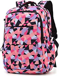 Geometric Prints Primary School Student Satchel Backpack For Girls Boys Preppy Schoolbag