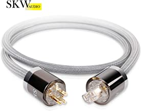 SKW Audiophile OCC Power Cord, Male to Female Power Cable, US Plug for Subwoofer, Amplifier, DV/AV (Grey,5ft/1.5M)
