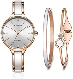 Women's Quartz Watch Gift Set Crystal Accented Ceramic and Stainless Steel L3877GT