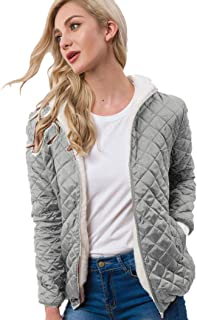 Women's Hooded Lightweight Quilted Short Faux Fur Lined Jacket Outwear Puffer Coat