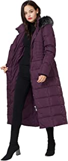 Women's Long Down Coat with Fur Hood Maxi Down Parka Puffer Jacket
