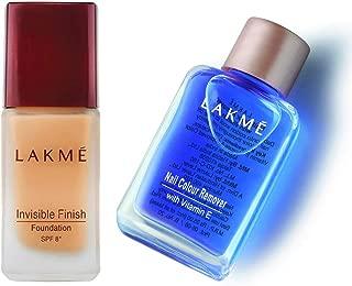 Lakme Invisible Finish SPF 8 Foundation, Shade 01, 25ml & Lakmé Nail Color Remover, 27ml