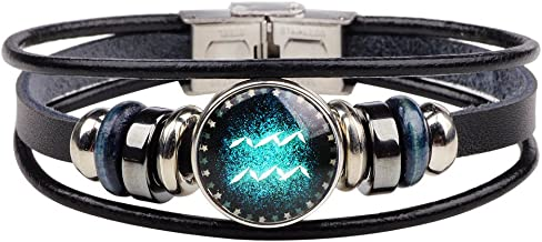 Dcfywl731 Retro 12 Zodiac Constellation Beaded Hand Woven Leather Bracelet Punk Chain Cuff