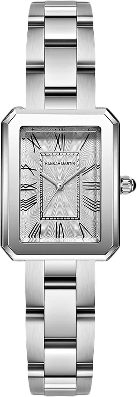 RORIOS Moda Relojes Mujer Analogico Relojes con Banda de Acero Inoxidable Cuadrado Relojes de Pulsera Elegante Vestir Relojes para Mujer